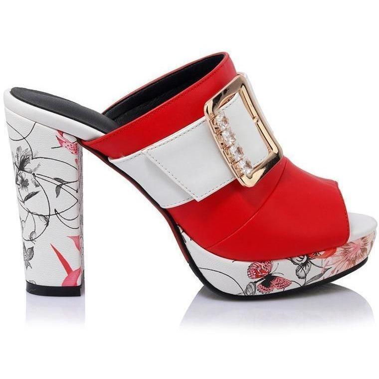 Bohemia Floral Print High Heel Peep Toe Red Shoes-Pumps-Sour Grapes Online-Red-3-