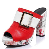 Bohemia Floral Print High Heel Peep Toe Red Shoes-Pumps-Sour Grapes Online-Red-4-