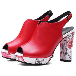 Bohemia Floral Print High Heel Peep Toe Red Strap Shoes-Pumps-Sour Grapes Online-Red with Strap-3-