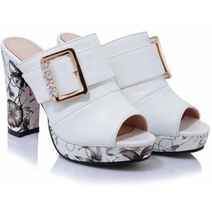 Bohemia Floral Print High Heel Peep Toe White Shoes-Pumps-Sour Grapes Online-White-3-