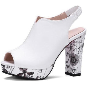 Bohemia Floral Print High Heel Peep Toe White Strap Shoes-Pumps-Sour Grapes Online-White with Strap-3-