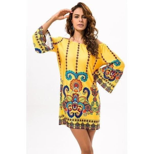 Boho Off Shoulder Beach Floral Vintage Plus Size Dress-Dress-Sour Grapes Online-Yellow-M-