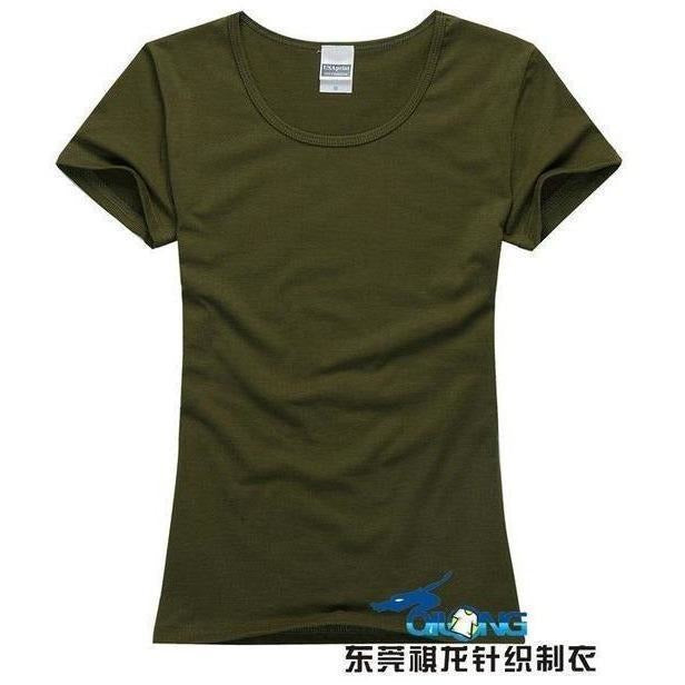 Brand New fashion women t-shirt brand tee tops Short Sleeve Cotton tops for women clothing solid O-neck t shirt ,Free shipping-T-Shirt-Sour Grapes Online-Army green-S-