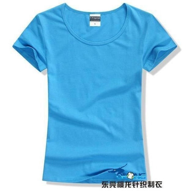 Brand New fashion women t-shirt brand tee tops Short Sleeve Cotton tops for women clothing solid O-neck t shirt ,Free shipping-T-Shirt-Sour Grapes Online-Blue-S-