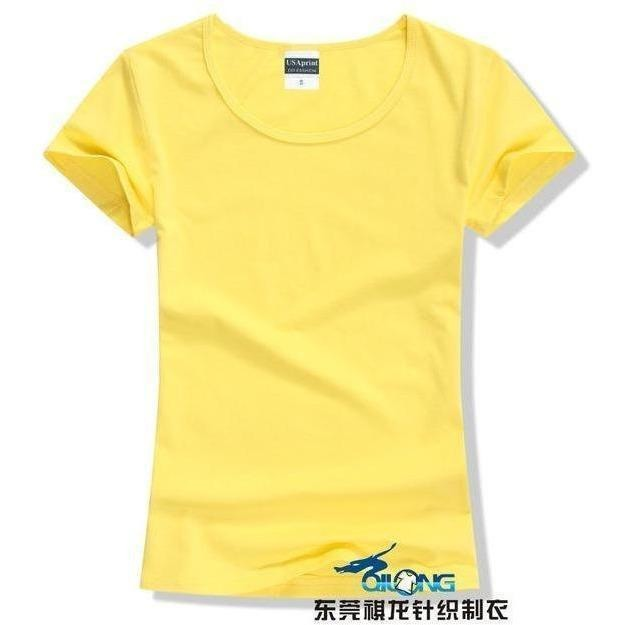 Brand New fashion women t-shirt brand tee tops Short Sleeve Cotton tops for women clothing solid O-neck t shirt ,Free shipping-T-Shirt-Sour Grapes Online-Bright Yellow-S-