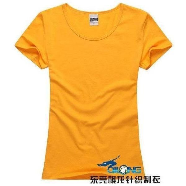 Brand New fashion women t-shirt brand tee tops Short Sleeve Cotton tops for women clothing solid O-neck t shirt ,Free shipping-T-Shirt-Sour Grapes Online-Golden Yellow-S-