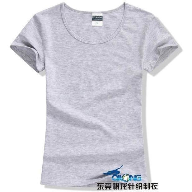 Brand New fashion women t-shirt brand tee tops Short Sleeve Cotton tops for women clothing solid O-neck t shirt ,Free shipping-T-Shirt-Sour Grapes Online-Gray-S-