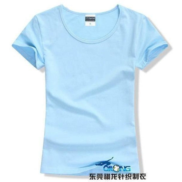 Brand New fashion women t-shirt brand tee tops Short Sleeve Cotton tops for women clothing solid O-neck t shirt ,Free shipping-T-Shirt-Sour Grapes Online-Light Blue-S-