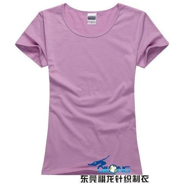 Brand New fashion women t-shirt brand tee tops Short Sleeve Cotton tops for women clothing solid O-neck t shirt ,Free shipping-T-Shirt-Sour Grapes Online-Light Purple-S-