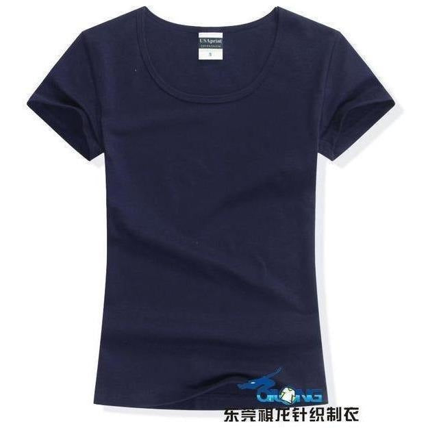 Brand New fashion women t-shirt brand tee tops Short Sleeve Cotton tops for women clothing solid O-neck t shirt ,Free shipping-T-Shirt-Sour Grapes Online-Navy-S-