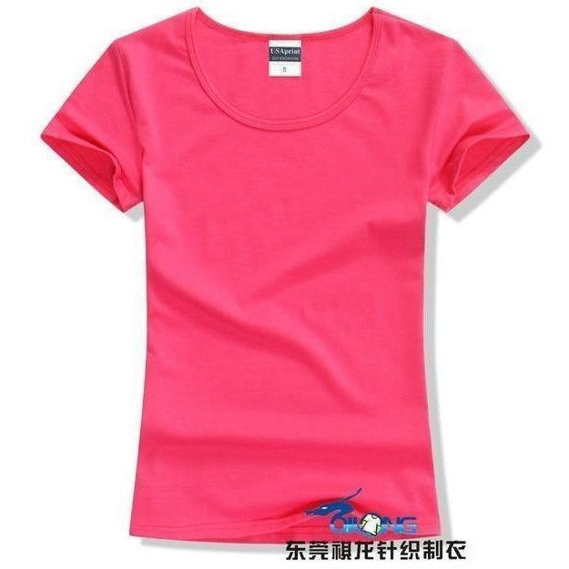 Brand New fashion women t-shirt brand tee tops Short Sleeve Cotton tops for women clothing solid O-neck t shirt ,Free shipping-T-Shirt-Sour Grapes Online-Rose Red-S-