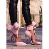 318138ad583 Butterfly Knot Bow Tie Pointed High Heels Shoes-Stilettos-Sour Grapes Online -Pink