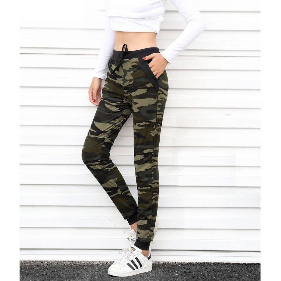 Camouflage Harem Jogger Sweatpants with Drawstring-Sweatpants-Sour Grapes Online-S-Green-