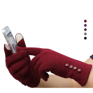 Cashmere Warm Winter Female Touch Screen Gloves-Accessories-Sour Grapes Online-Red-