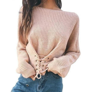Casual Long Sleeve Knitted Lace Up Pullover Women Sweater-Pullover-Sour Grapes Online-Black-One Size-