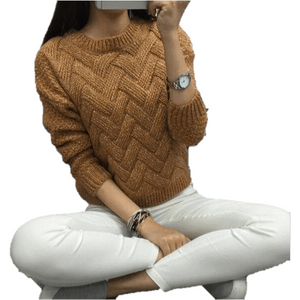 Casual Women O-neck Pullover Textured Sweater-Pullover-Sour Grapes Online-Brown-One Size-
