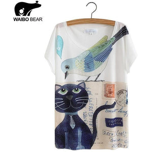Cat Animal Printed T Shirt Women Tops 2017 Summer Camisetas Mujer Women's T-shirt Femme plus size Casual Tees Shirts-T-Shirt-Sour Grapes Online-1-L-