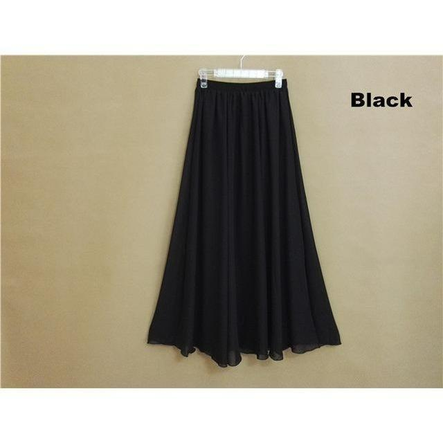 Chiffon Floor Length Pleated Long Lenin Maxi Skirts - 4 colors-Skirt-Sour Grapes Online-Black-M-