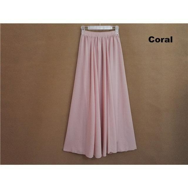 Chiffon Floor Length Pleated Long Lenin Maxi Skirts - 4 colors-Skirt-Sour Grapes Online-Coral-M-