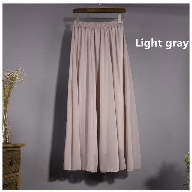 Chiffon Floor Length Pleated Long Lenin Maxi Skirts - 4 colors-Skirt-Sour Grapes Online-Light Grey-M-