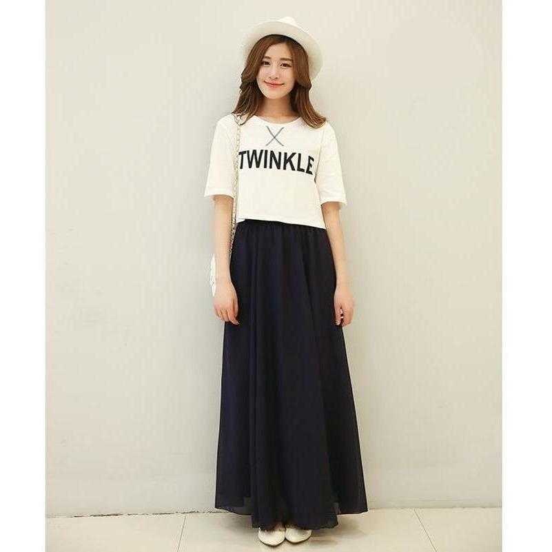 Chiffon Floor Length Pleated Long Lenin Maxi Skirts - 4 colors-Skirt-Sour Grapes Online-Black-S-