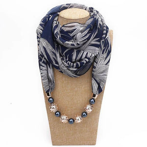 Chiffon Scarf Pendant Jewelry Wrap Bohemia Necklaces For Women-Scarf-Sour Grapes Online-Blue-one size-