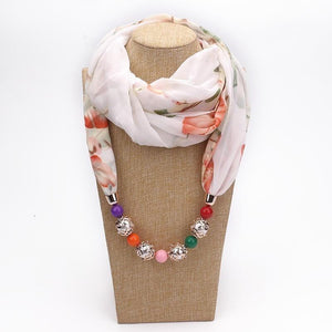 Chiffon Scarf Pendant Jewelry Wrap Bohemia Necklaces For Women-Scarf-Sour Grapes Online-White-one size-