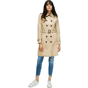 Classic Double Breasted Khaki Long Trench Coat Womens-Coat-Sour Grapes Online-Khaki-S-