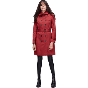 Classic Double Breasted Long Red Trench Coat Womens-Coat-Sour Grapes Online-Red-S-