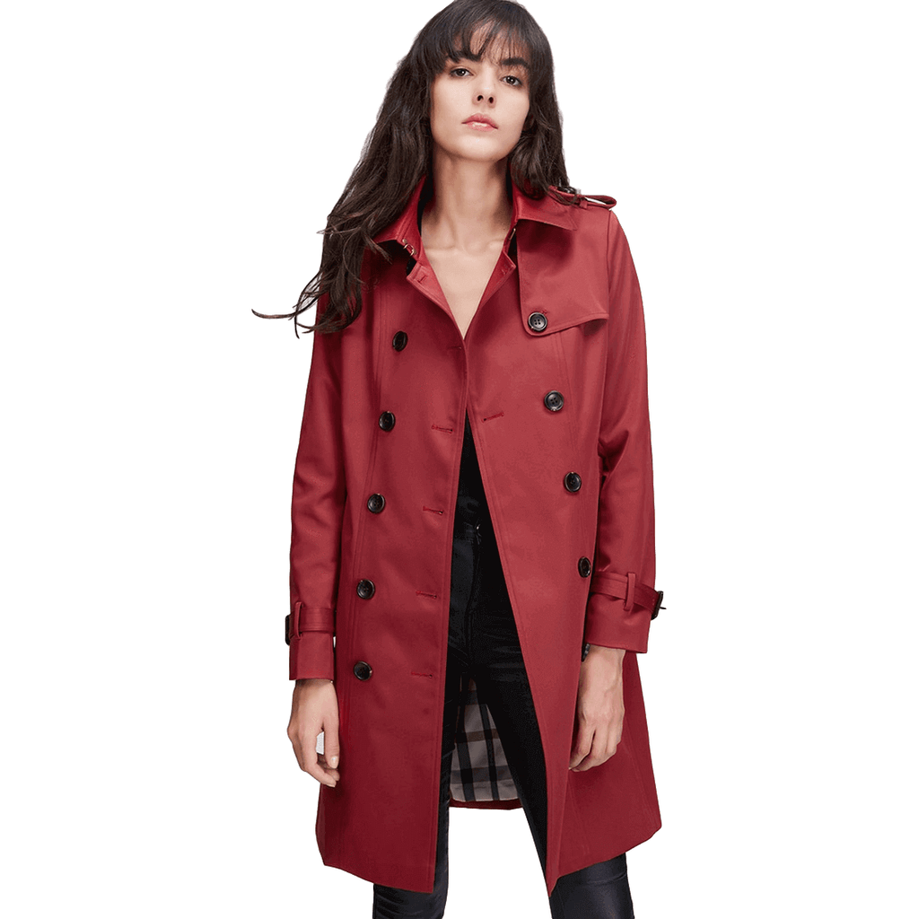 64a18023dc Classic Double Breasted Long Red Trench Coat Womens-Coat-Sour Grapes Online -Red