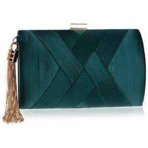 Classical Style Metal Tassel Lady Clutch Bag w/ Chain Shoulder-Clutch-Sour Grapes Online-Green-