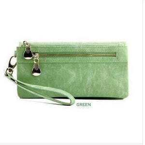 Coach Double Zip Dull Polish Leather Wallet for Women-Wallet-Sour Grapes Online-Green-