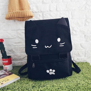 Cute Black Cat Cartoon Printed Embroidery Canvas Backpack-Backpack-Sour Grapes Online-White-