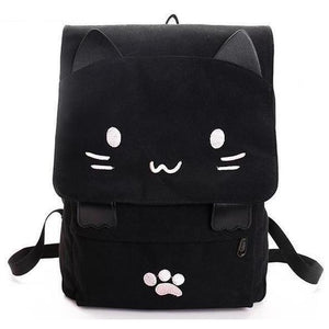 Cute Black Cat Cartoon Printed Embroidery Canvas Backpack-Backpack-Sour Grapes Online-Pink-
