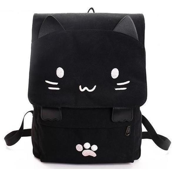 67e22e0db Cute Black Cat Cartoon Printed Embroidery Canvas Backpack-Backpack-Sour  Grapes Online-Pink