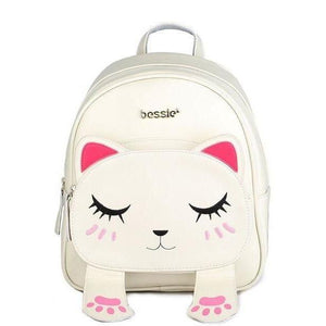Cute Funny 3D Cat Eyes & Ears Canvas Backpack Shoulder Bag-Backpack-Sour Grapes Online-White-