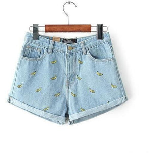 Denim Shorts Women Summer Banana Flower Embroidery Cotton Denim Shorts 2016 curling plus size casual female waist Jeans Shorts-Shorts-Sour Grapes Online-Sky blue-S-