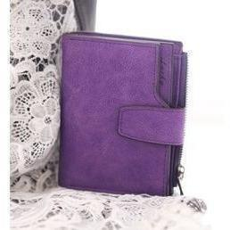 Designer Cute Female Wallet Zip Around Small Coin Purse-Wallet-Sour Grapes Online-Purple-