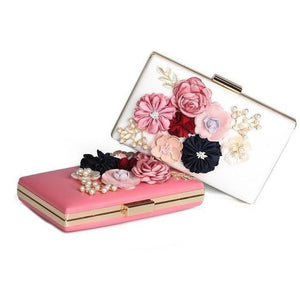 Designer Punk Skull Rivet Women Floral Clutch Bag-Clutch-Sour Grapes Online-Pink-