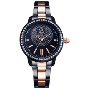 Designer Rose Gold Crystal Luxury Quartz Wrist Watch-Watch-Sour Grapes Online-Black-