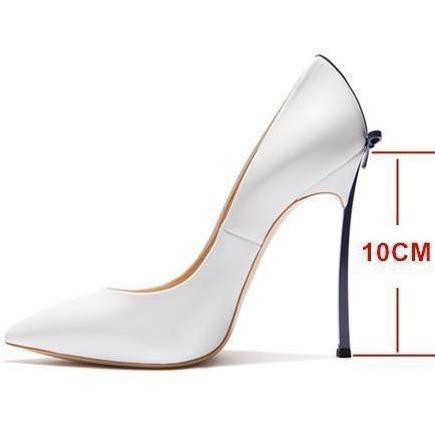 Designer Women High Heels White Wedding Shoes With Bow