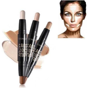 Double Head 2-in-1 3D Bronzer Highlighter Stick Face Makeup Concealer Pen-Face Styling-Sour Grapes Online-01-