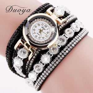 Duoya Brand Women Bracelet Luxury Wrist Watch For Women Watch 2016 Crystal Round Dial Dress Gold Ladies Leather Clock Watch-Watch-Sour Grapes Online-Black-
