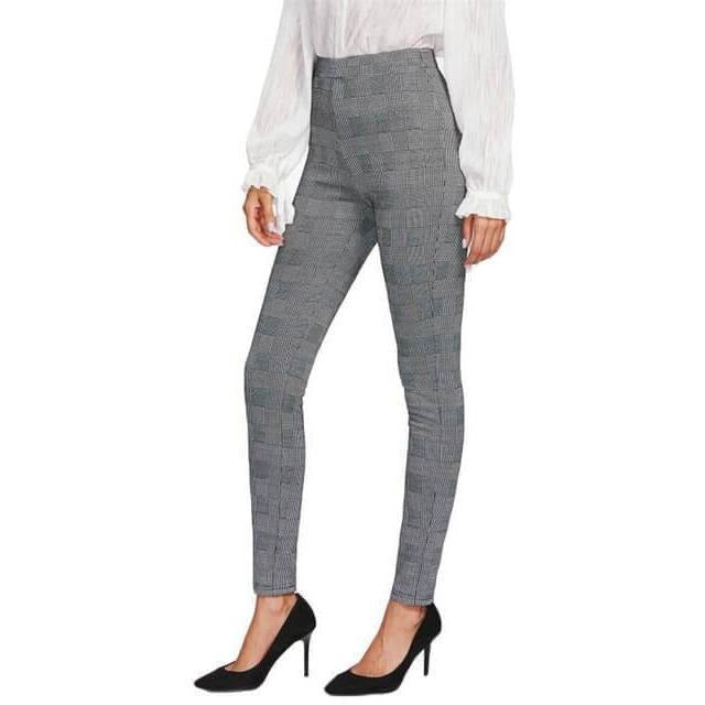 01747b81ca49 Elastic High Waisted Grey Plaid Stretchy Women Skinny Pants-Pants-Sour  Grapes Online-