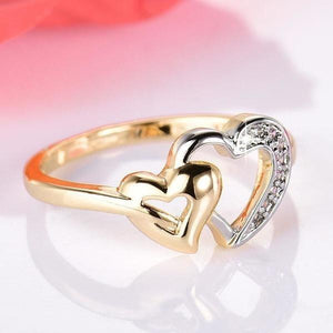 Exquisite Double Heart Cubic Zirconia Jewelry Love Ring for Women-Rings-Sour Grapes Online-6-Rose Gold-