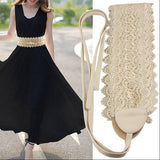 Exquisite Lace Belts For Women Lace Up Free Size Summer Style Belts Wide Belt For Dress Skirt 2016 New Arrival Accessories Belt-Belt-Sour Grapes Online-White-90cm-