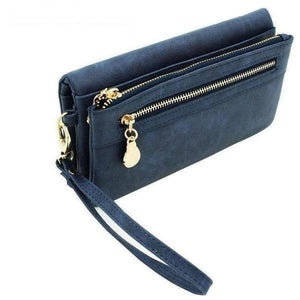 Fashion Double Zipper Women Leather Wallet Female Wristlet