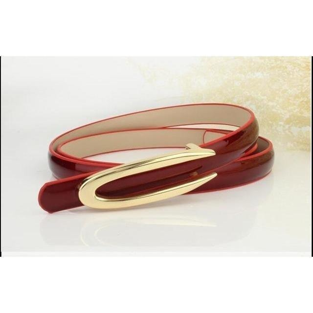Fashion Genuine Leather Thin Belt Dress Accessories-Belt-Sour Grapes Online-Red-100cm-
