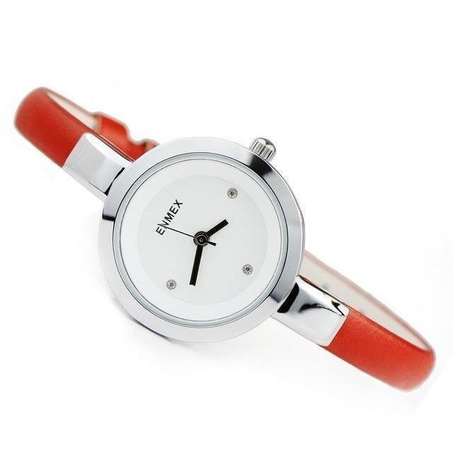 Fashion Slim Strap Quartz Watch for Women-Watch-Sour Grapes Online-Silver Red-