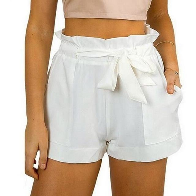 Fashion Women Casual Shorts Design Patchwork Plus Size High Waist Shorts Loose Fashionable Shorts female With Belt-Shorts-Sour Grapes Online-White-L-
